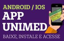 Ícone com texto: Baixe e instale o app do beneficiário Unimed