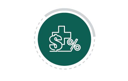 Imagem colorida com ícone de Saúde Econômica. A figura representa um círculo em verde com ícone branco no centro, mostrando três símbolos: cifrão, porcentagem e sinal de adição.