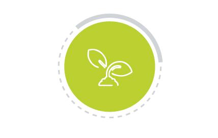 Imagem colorida com ícone de Saúde Ambiental. A figura representa um círculo em verde com ícone branco no centro, mostrando o símbolo de terra e folhas.