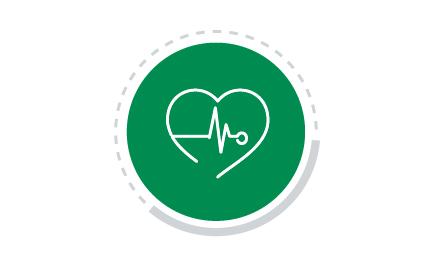 Figura colorida com ícone de Saúde Social. A figura representa um círculo em verde com ícone branco no centro, mostrando um coração e um símbolo de batimentos cardíacos.
