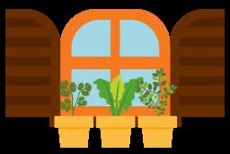 Ilustração de janela aberta com 3 vasos iguais com plantas diferentes