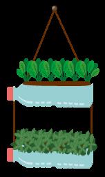 Ilustração de vasos feitos com garrafa pet transparente com plantinhas