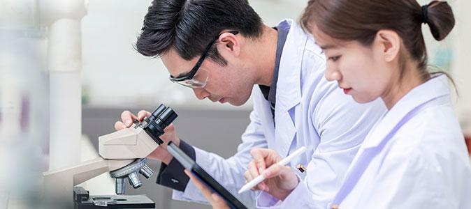 casal de médicos examinando vírus em um laboratório