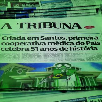 c6b90cc2f4 Capa de A Tribuna celebra os 51 anos da Unimed Santos